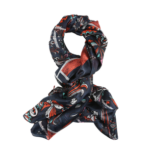 LA MAREY Pure 100% Mulberry Silk Floral Pattern Scarf  (Size 180x110cm) - Navy, Red and Multi