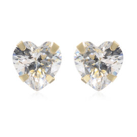 9K Yellow Gold Simulated Diamond (Hrt 5mm) Stud Earrings (with Push Back)
