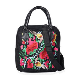 Embroidered Flower and Bird Pattern Tote Bag with Zipper Closure and Detachable Shoulder Strap (Size