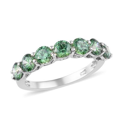 J Francis - Platinum Overlay Sterling Silver Half Eternity Ring Made with Green Swarovski Zirconia 3