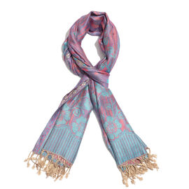 Pink and Turquoise Colour Flower and Leaves Pattern Jacquard Scarf (Size 190x70 Cm)