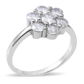ELANZA Simulated Diamond (Rnd) Floral Ring in Rhodium Overlay Sterling Silver