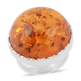 Super Auction- Baltic Amber (Rnd) Ring in Sterling Silver, Silver wt 10.00 Gms
