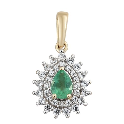 1.25 Ct AAA Premium Santa Terezinha Emerald and Cambodian Zircon Halo Pendant in 9K Gold