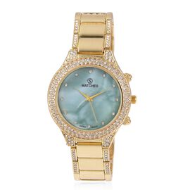STRADA Japanese Movement Water Resistant White Austrian Crystal Studded Watch in Gold Plated Stainless Steel