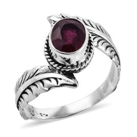 Royal Bali 2.61 Ct African Ruby Solitaire Ring in Sterling Silver 4.1 Grams