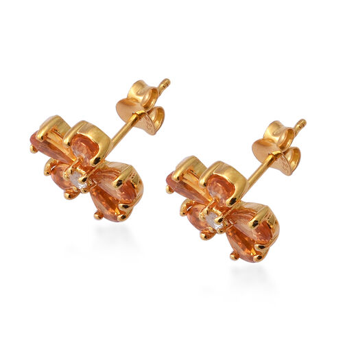 Sunset Sapphire and Natural Cambodian Zircon Floral Stud Earrings (with Push Back) in Yellow Gold Overlay Sterling Silver 2.75 Ct.