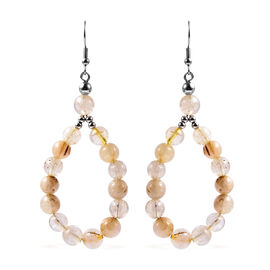 Golden Rutilated Quartz Beads Hook Earrings (with Push Back) in Silver Tone 95.50 Ct.