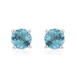 Paraiba Apatite (Rnd) Stud Earrings (with Push Back) in Platinum Overlay Sterling Silver 1.000 Ct.
