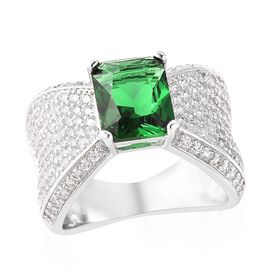 Simulated Russian Diopside (Oct 10x8 mm), Simulated Diamond Ring (Size O) in Silver Plated