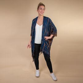 TAMSY 100% Rayon Printed Kimono, One Size  ( Fits 8-20 ) Navy & Brown