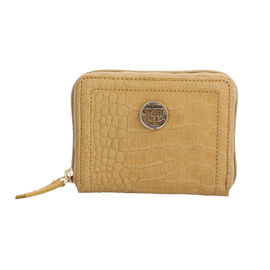 100% Genuine Leather RFID Croc-Embossed Tan Wallet with Zipper Closure