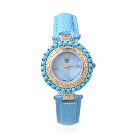 EON 1962 Swiss Movement Arizona Sleeping Beauty Turquoise (Rnd) Water Resistant Watch with Blue Leat