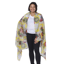 LA MAREY 100% Mulberry Silk Yellow and Multi Colour Scarf with Abstract Floral Print (180x110cm)