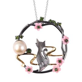Jardin Collection - Pink Mother of Pearl, Golden South Sea Pearl and Russian Diopside Cat Pendant Wi