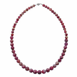 200 Ct Sakura Tourmaline Beaded Necklace in Rhodium Plated Sterling Silver