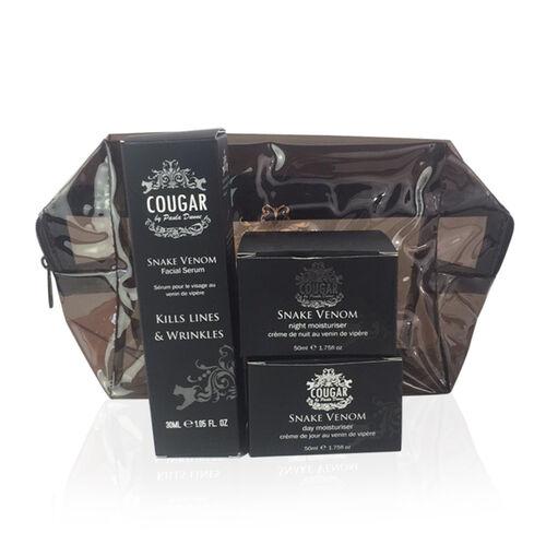 COUGAR- Snake Gift set- Day Moist 50ml, Night Moist 50ml and Serum 30ml -Black Bag