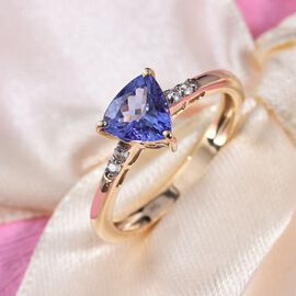 9K Yellow Gold Tanzanite and Natural Cambodian Zircon Ring 1.23 Ct.