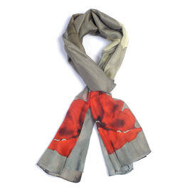 TJC Poppy Collection - 100% Mulberry Silk Grey and Red Colour Floral Print Scarf (Size 180x50 Cm)