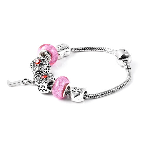 J Initial Charm Bracelet for Children in Simulated Pink Colour Bead, Red and White Austrian Crystal Size 6.5 Inch with Silver Tone