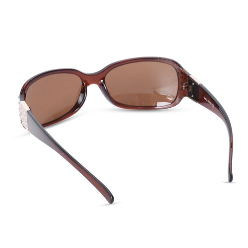 Shiny Brown Classic Shaped Frame Sunglasses with Crystals and UV Protection Lenses Including Hard Plastic Black Pouch