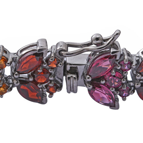 Citrine (Rnd and Mrq), Rhodolite Garnet and Multi Gemstone Bracelet (Size 7.25) in Black and Rhodium Plated Sterling Silver 29.140 Ct. Silver wt 14.50 Gms. Number of Gemstone 241