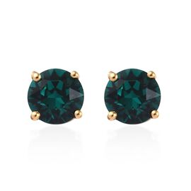 J Francis - Crystal from Swarovski Emerald Colour Crystal (Rnd) Stud Earrings (with Push Back) in 14