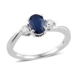 9K White Gold AA Kanchanaburi Blue Sapphire (Ovl), Diamond Ring  1.150 Ct.