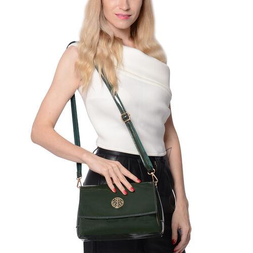 100% Genuine Leather Crossbody Bag with Adjustable Shoulder Starp (25x9.5x17cm) - Green