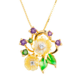 JARDIN COLLECTION - Yellow Mother of Pearl, Amethyst, Russian Diopside Enameled Floral Pendant with Chain (Size 18) in 14K Gold Overlay Sterling Silver