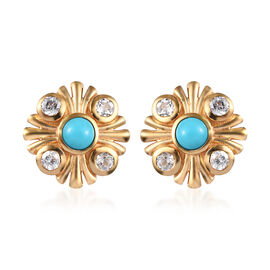1.25 Ct Arizona Sleeping Beauty Turquoise and Zircon Floral Stud Earrings in Gold Plated Silver