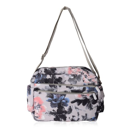 Water Resistant Grey and Multi Colour Flower Pattern Crossbody Bag with External Zipper Pockets (Siz