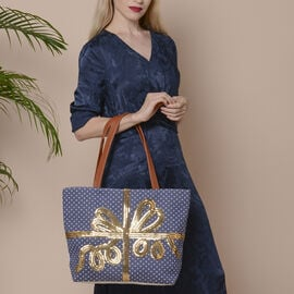 Dot and Gift Ribbon Pattern Tote Bag with Zipper Closure (Size 32x10.5x35 Cm) - Navy