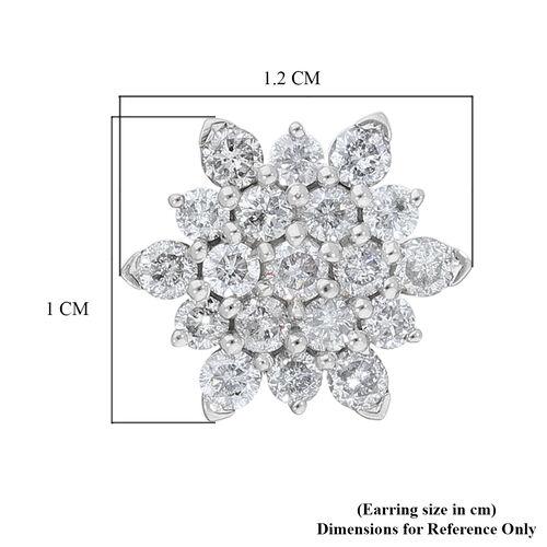 9K White Gold SGL Certified White Diamond (I3/G-H) Cluster Earrings (with Push Back) 0.50 Ct.