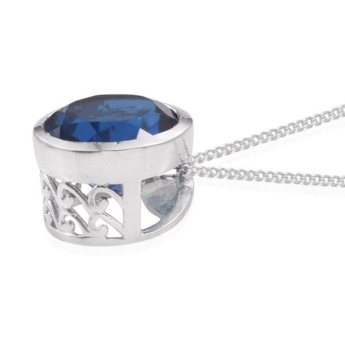 Ceylon Colour Quartz (Rnd) Solitaire Pendant With Chain in Platinum Overlay Sterling Silver 5.500 Ct.