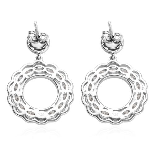 J Francis - Platinum Overlay Sterling Silver Drop Earrings (with Push Back) Made with SWAROVSKI ZIRCONIA, Silver wt 6.70 Gms