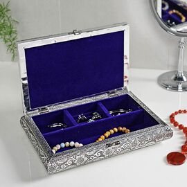 3D Embossed Collection Handcrafted Oxidised Book Shaped Jewellery Box with Flower Design (Size: 27.9