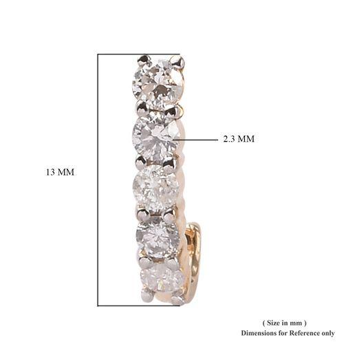 9K Yellow Gold SGL Certified Diamond (Rnd) (I3/G-H) J Hoop Earrings (with Push Back) 0.500 Ct.