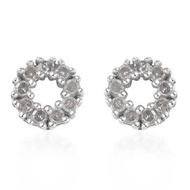 Diamond Stud Earrings (with Push Back) in Platinum Overlay Sterling Silver 0.25 Ct.