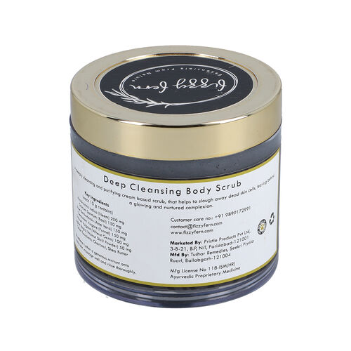 Fizzy Fern: Deep Cleansing Body Scrub with Charcoal, Shea Butter and Wheat Germ Oil