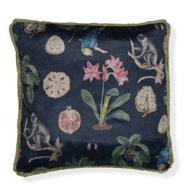 Designers Digitally Printed Silky Velvet  Flower and Monkey Cushion Cover with Fringes (Size 43x43cm