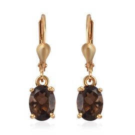 AA Brazilian Smoky Quartz (Ovl) Lever Back Earrings in 14K Gold Overlay Sterling Silver 2.25 Ct.