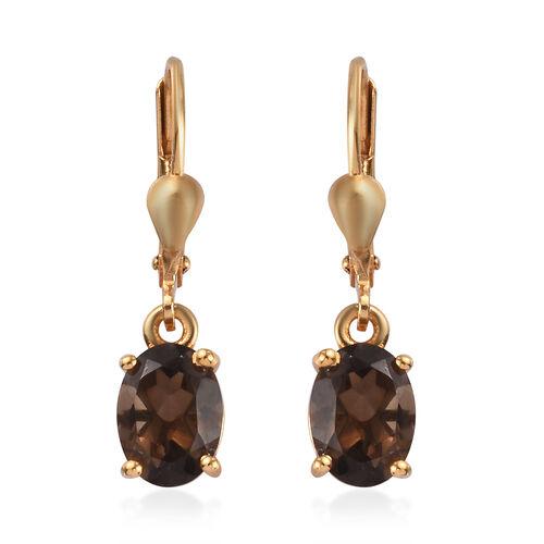 AA Brazilian Smoky Quartz (Ovl) Lever Back Earrings in 14K Gold Overlay Sterling Silver 2.25 Ct.