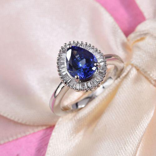 RHAPSODY 950 Platinum AAAA Tanzanite (Pear 9x7mm), Diamond (VS/E-F) Ring 2.08 Ct, Platinum wt 5.68 G