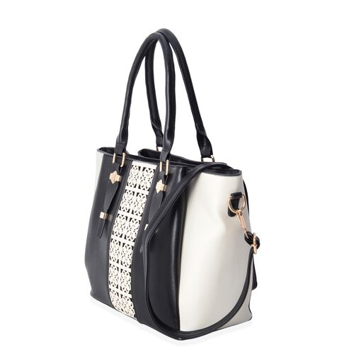 Black and Cream Colour Stripe Pattern Tote Bag with Removable Shoulder Strap and External Zipper (Size 36.5x27.5x25x14.5 Cm)