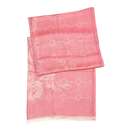 Pink and Silver Colour Flower Pattern Jacquard Scarf (Size 190x70 Cm)