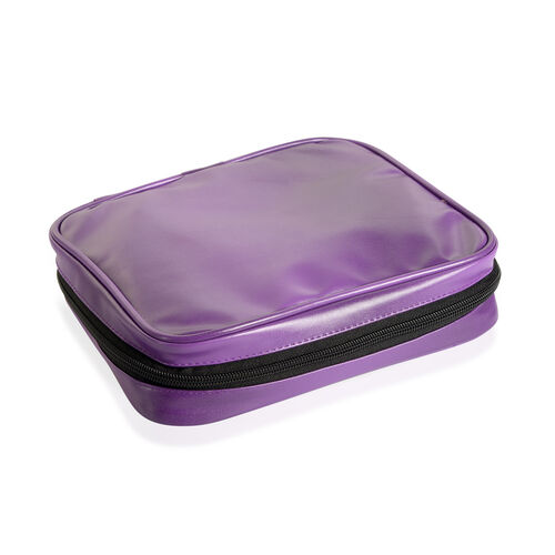 Purple Colour Travelling Jewellery Bag (Size 25x20x6 Cm) with 5 Transparent Zipper Pouch (Size 19x15 Cm)