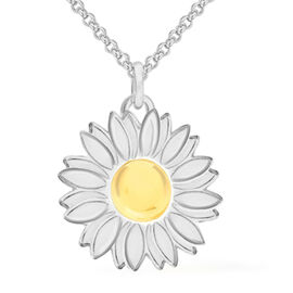 Sterling Silver Enamelled Daisy Necklace (Size 18)