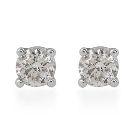 NY Close Out-  14K White Gold Diamond (I1-I2/G-H) Stud Earrings (with Push Back) 0.40 Ct.