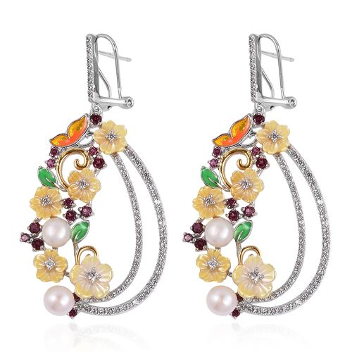 JARDIN COLLECTION -Yellow Mother of Pearl, Freshwater White Pearl, Rhodolite Garnet and Multi Gemstone Enameled Floral Earrings (with French Clip) in Rhodium and Gold Overlay Sterling Silver 11.20 Gm